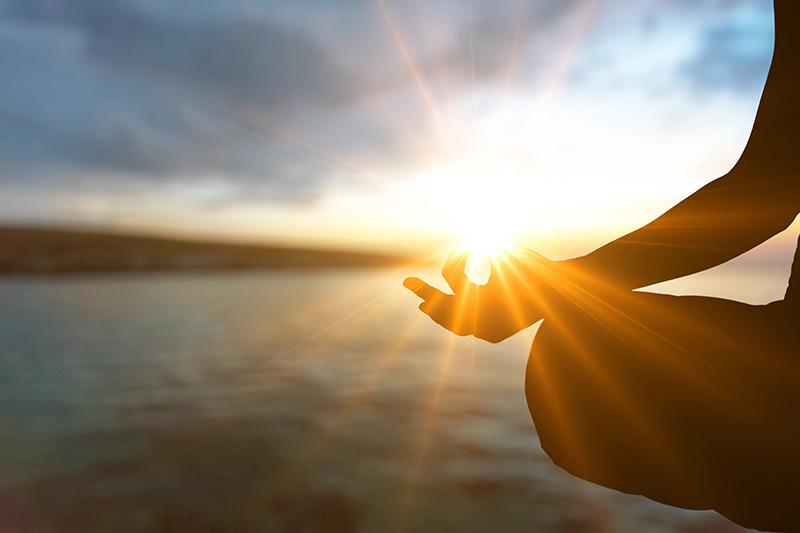 Meditation Sun In Hand